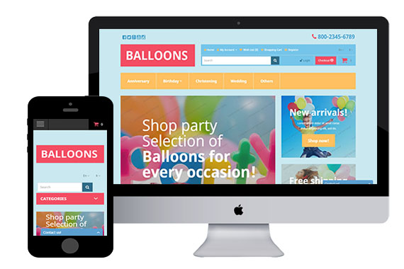 Balloons free responsive opencart template