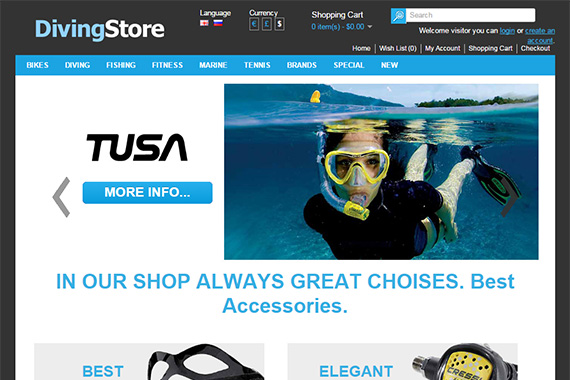 DivingStore Free Opencart Themes
