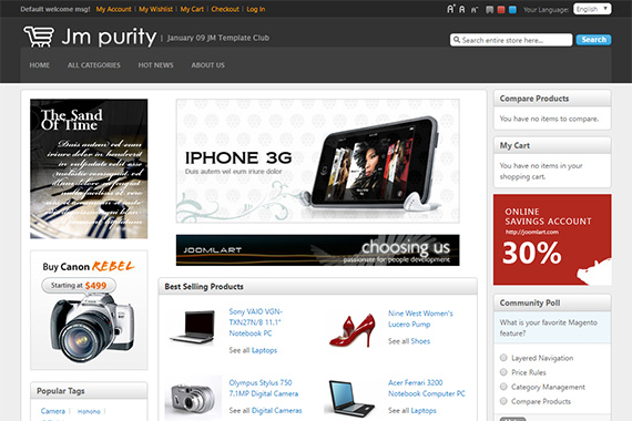 JM Purity - Free Magento Theme