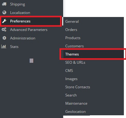 click on themes at the preferences